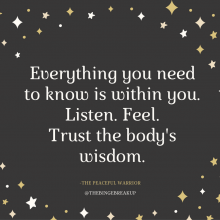 Do you listen to your body? Or have you forgotten how?
